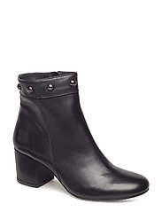 Bootie - block heel - with zippe - 1604 BLACK