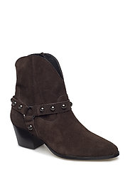 Bootie - block heel - with zippe - 2193 DARK BROWN
