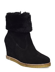 Booties - Wedge - 1163/2014 BLACK/BLACK LAMB WOO
