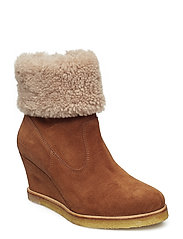 Booties - Wedge - 1166/2019 COGNAC/BEIGE LAMB WO