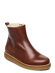 Boots - flat - with zipper - 1837 BROWN