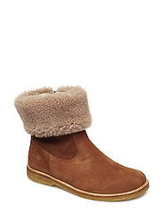Booties - flat - with elastic - 1166/2019 COGNAC/BEIGE LAMB WO