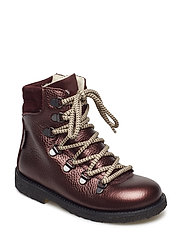 Boots - flat - with velcro - 1536/2195/1445 BORDEAUX SHINE/