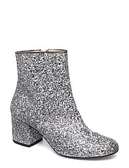 Bootie - block heel - with zippe - 2485 SILVER GLITTER