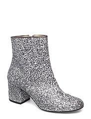 Bootie - block heel - with zippe - 2485 SILVER GLITTER