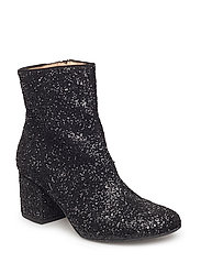 Bootie - block heel - with zippe - 2486 BLACK GLITTER