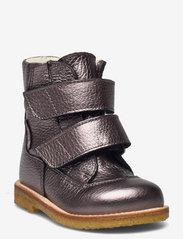 Boots - flat - with velcro - 1538 MAUVé SHINE