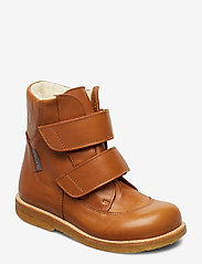 Boots - flat - with velcro - 2406 COGNAC