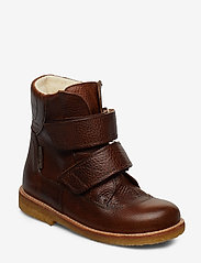 Boots - flat - with velcro - 2509 COGNAC