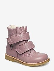 Boots - flat - with velcro - 2560 LIGHT PLUM