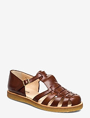 ANGULUS - Sandals - flat - closed toe - op - flache sandalen - 1837 brown - 0
