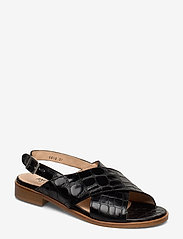 ANGULUS - Sandals - flat - flache sandalen - 1674 black croco - 0