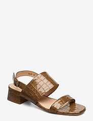ANGULUS - Sandals - Block heels - højhælede sandaler - 1671 tan krokodille - 0