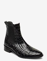 ANGULUS - Booties - flat - with elastic - chelsea støvler - 1674/019 black croco/ black - 0