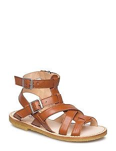 Sandal w. zipper - 1431 COGNAC