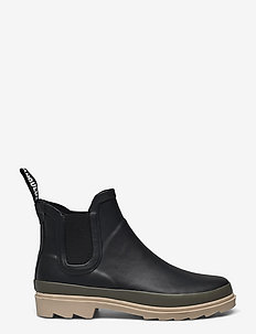 Rain boots - low with elastic - kalosze - 0018 black/olive