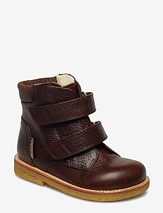 Boots - flat - with velcro - 2505/1660 DARK BROWN