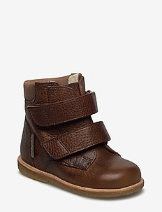Boots - flat - with velcro - 2509/1589 RED-BROWN