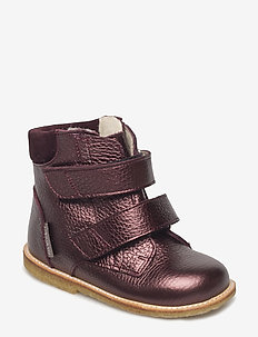Boots - flat - with velcro - 1536/2195 BORDEAUX SHINE/B
