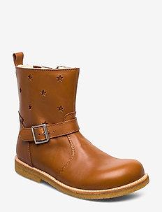 Boots - flat - with zipper - 2406/2645/1431/036 COGNAC/RUST
