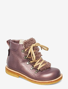 Boots - flat - with lace and zip - winter boots - 1509/2029 lavender shine/lambs