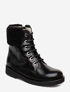 Boots - flat - with lace and zip - 1835/2014 BLACK/BLACK LAMBSWOO