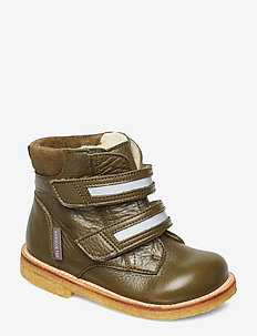 Boots - flat - with velcro - 2634/2012/2196/2022 OLIVE/REFL