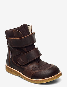 Boots - flat - with velcro - winter boots - 2108/1642 dark brown