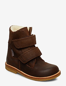 Boots - flat - with velcro - 2108 DARK BROWN