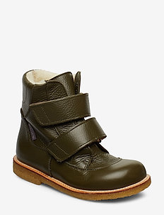 Boots - flat - with velcro - 2634 OLIVE