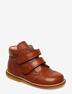 Shoes - flat - with velcro - 1431 COGNAC