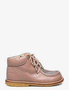 Shoes - flat - with lace - støvler - 1433/2485 make-up/silver glitt