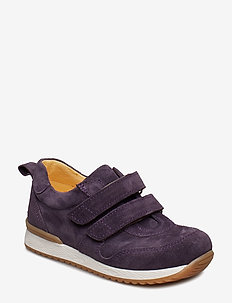 Shoes - flat - with velcro - 2203 DARK PURPLE