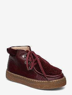 Booties - flat - with zip and la - 1445/2018/2195 BORDEAUX/B. L/B
