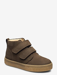 Shoes - flat - with velcro - winter boots - 1253 dark olive