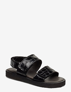 Sandals - flat - open toe - op - 1674 BLACK CROCO