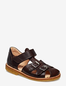 Sandal with two buckles in front - 2505 DARK BROWN