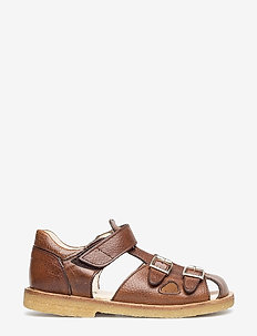 Sandal with two buckles in front - sandals - 2509 cognac