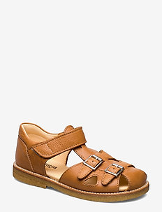 Sandal with two buckles in front - sandals - 2621 cognac