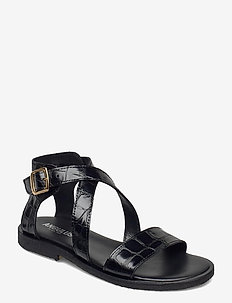 Sandals - flat - open toe - op - flache sandalen - 1674 black croco