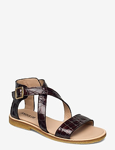 Sandals - flat - open toe - op - flade sandaler - 1672 brown croco