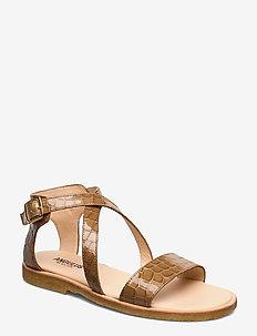 5442 - flade sandaler - 1671 tan krokodille