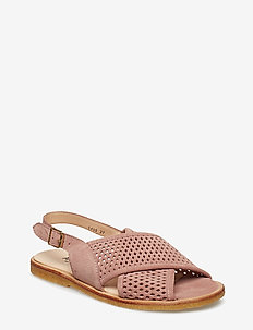 Sling-back sandal with hole pattern and buckle. - 2194 POWDER