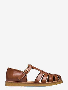 Sandals - flat - closed toe - op - flache sandalen - 1838 cognac