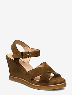 Sandals - wedge - kilehæl - 2209 mustard