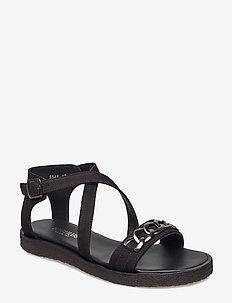Sandals - flat - open toe - op - 1200 BLACK