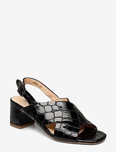 Sandals - Block heels - 1674 BLACK CROCO