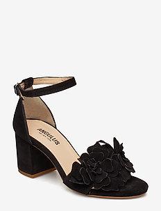 Sandals - block heels - open toe - 1163 BLACK