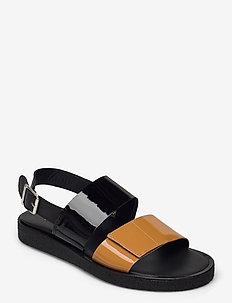 Sandals - flat - open toe - op - flache sandalen - 2352/2320/1604 ocher/black/bla