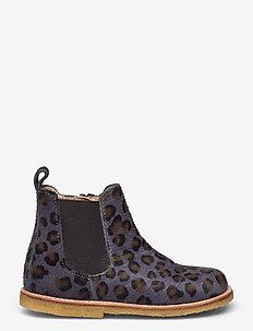 Booties - flat - with zipper - støvler - 1104/002 l.leo pony/brown